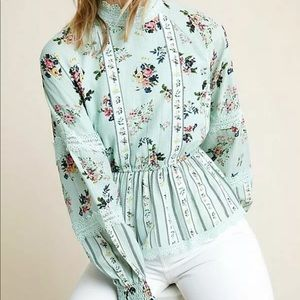 Anthropologie Amour Floral Lace Blouse
